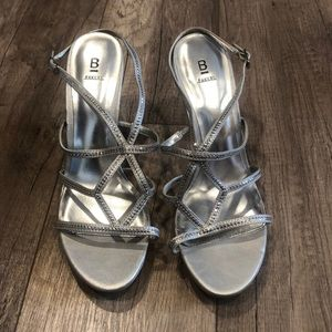 Bakers Patrice Heel in Silver, Strappy w/ sequins